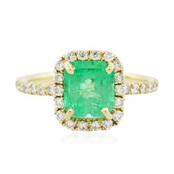 14KT Yellow Gold 2.06 ctw Emerald and Diamond Ring