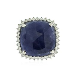 14KT White Gold 15.64 ctw Sapphire and Diamond Ring