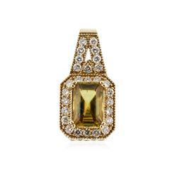 14KT Yellow Gold 2.52 ctw Citrine and Diamond Pendant