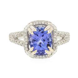 14KT White Gold 3.64 ctw Tanzanite and Diamond Ring
