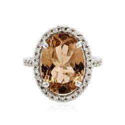 14KT White Gold 5.34 ctw Orange Tourmaline and Diamond Ring
