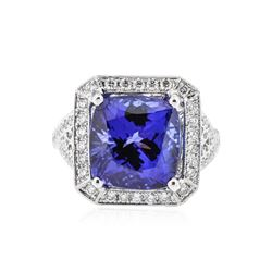 18KT White Gold GIA Certified 12.57 ctw Tanzanite and Diamond Ring