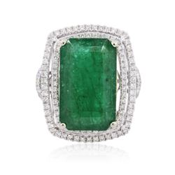 14KT Two-Tone Gold 12.39 ctw Emerald and Diamond Ring