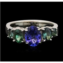 14KT White Gold 1.08 ctw Tanzanite and Green Chrysoberyl Ring