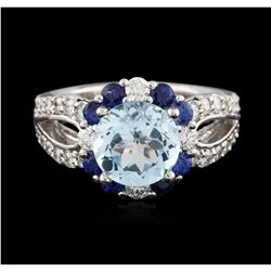 14KT White Gold 3.24 ctw Topaz, Sapphire and Diamond Ring