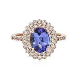 14KT Rose Gold 1.63 ctw Tanzanite and Diamond Ring