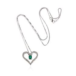 14KT White Gold 0.45 ctw Emerald and Diamond Pendant With Chain