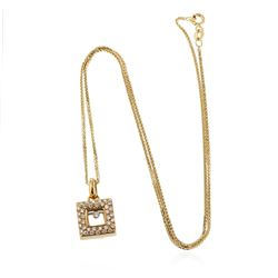 18KT Yellow Gold 0.16 ctw Diamond Pendant With Chain