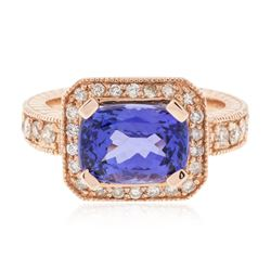 14KT Rose Gold 3.85 ctw Tanzanite and Diamond Ring