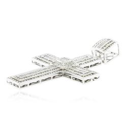 14KT White Gold 5.12 ctw Diamond Cross Pendant