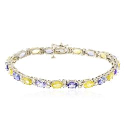 14KT White Gold 5.30 ctw Sapphire, Tanzanite and Diamond Bracelet