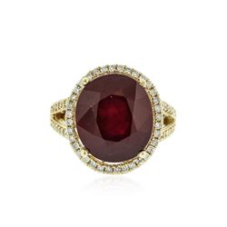 14KT Yellow Gold 14.25 ctw Ruby and Diamond Ring