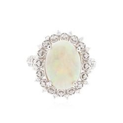 14KT White Gold 2.79 ctw Opal and Diamond Ring