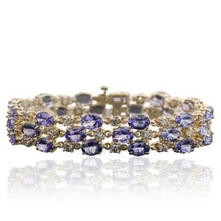 14KT Yellow Gold 24.17 ctw Tanzanite and Diamond Bracelet