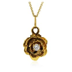14KT Yellow Gold 0.08 ctw Diamond Flower Pendant With Chain