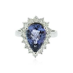 14KT White Gold 4.50 ctw Tanzanite and Diamond Ring