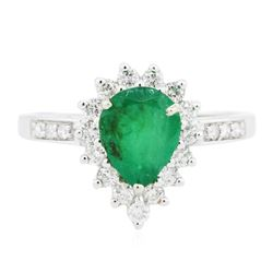 14KT White Gold 1.30 ctw Emerald and Diamond Ring