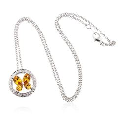 18KT White Gold 3.50 ctw Orange Sapphire and Diamond Pendant With Chain