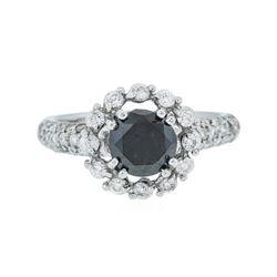 14KT White Gold 1.75 ctw Black Diamond Ring
