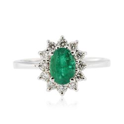 18KT White Gold 0.53 ctw Emerald and Diamond Ring