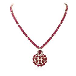 14KT Yellow Gold 70.16 ctw Ruby and Diamond Necklace