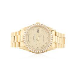 Gents Rolex 18KT Yellow Gold 1.20 ctw Diamond DateJust Wristwatch