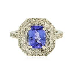 14KT White Gold 1.75 ctw Tanzanite and Diamond Ring