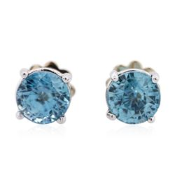 14KT White Gold 2.00 ctw Blue Zircon Earrings