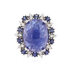 14KT White Gold 13.88 ctw Tanzanite, Sapphire and Diamond Ring
