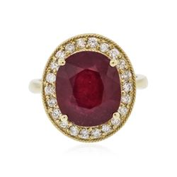 14KT Yellow Gold 6.97 ctw Ruby and Diamond Ring