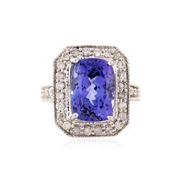 14KT White Gold 9.03 ctw Tanzanite and Diamond Ring