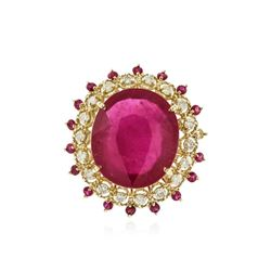 14KT Yellow Gold 31.75 ctw Ruby and Diamond Ring
