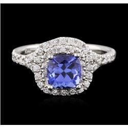 14KT White Gold 1.22 ctw Tanzanite and Diamond Ring