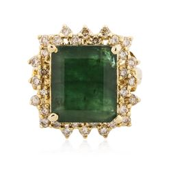 14KT Yellow Gold 10.80 ctw Emerald and Diamond Ring