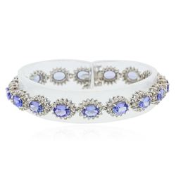 14KT White Gold 10.40 ctw Tanzanite and Diamond Bracelet