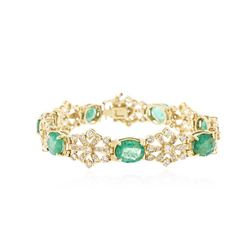 14KT Yellow Gold 17.50 ctw Emerald and Diamond Bracelet