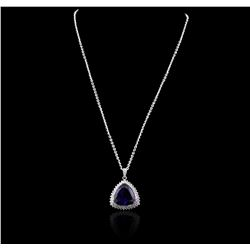 14KT White Gold GIA Certified 29.44 ctw Tanzanite and Diamond Pendant With Chain