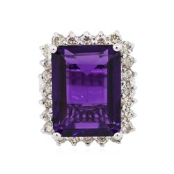 14KT White Gold 11.22 ctw Amethyst and Diamond Ring