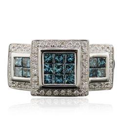 14KT White Gold 0.97 ctw Blue Diamond Ring