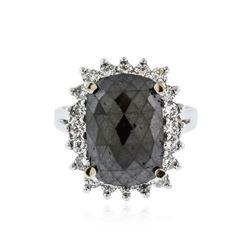 14KT White Gold 6.64 ctw Black Diamond Ring