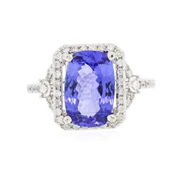 14KT White Gold 3.34 ctw Tanzanite and Diamond Ring