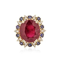 14KT Yellow Gold 12.57 ctw Ruby, Sapphire and Diamond Ring