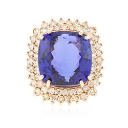 14KT Rose Gold 25.52 ctw GIA Certified Tanzanite and Diamond Ring