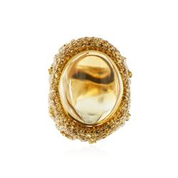 18KT Yellow Gold 37.03 ctw Citrine, Sapphire and Diamond Ring
