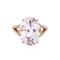 14KT Rose Gold 13.89 ctw Kunzite and Diamond Ring