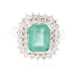 14KT White Gold 3.05 ctw Emerald and Diamond Ring