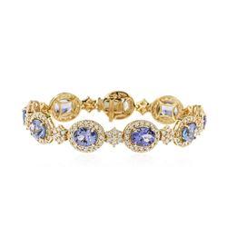 18KT Yellow Gold 19.80 ctw Tanzanite and Diamond Bracelet