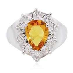 14KT White Gold 2.22 ctw Orange Sapphire and Diamond Ring