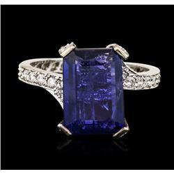 14KT White Gold 5.67 ctw Tanzanite and Diamond Ring