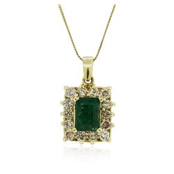 14KT Yellow Gold 1.66 ctw Emerald and Diamond Pendant With Chain